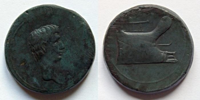 Bronze anépigraphe d'Octave (RPC 5416) 21,59g_29mm_12h_mba_lyon